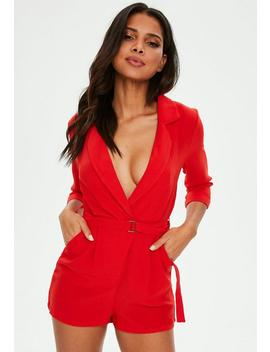 Red Wrap Blazer Playsuit by Missguided