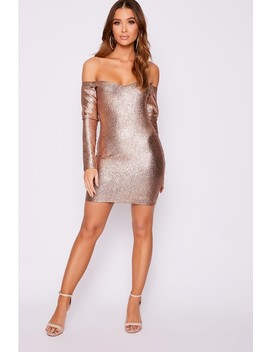 Edria Copper Metallic Bardot Bodycon Dress by In The Style
