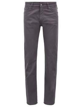 Regular Fit Jeans In Diamond Brushed Satin Stretch Denim by Boss