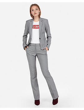 Plaid Barely Boot Columnist Pant Suit by Express