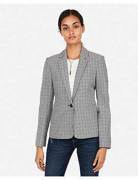 Plaid One Button Blazer by Express