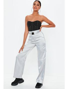 Grey Satin Seatbelt Wide Leg Trousers by Missguided