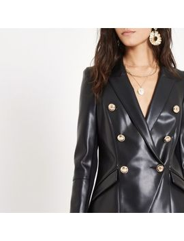 Black Leather Double Breasted Tux Blazer by River Island