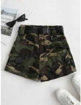 High Rise Belted Camo Print Shorts   Army Green S by Zaful