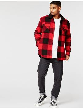 Absent Bred Sherpa Flannel Shirt In Red/Black by Hallenstein Brothers