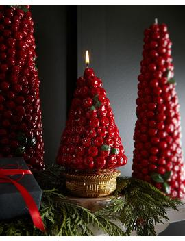 Red Berries Candle In Gold Basket by Neiman Marcus