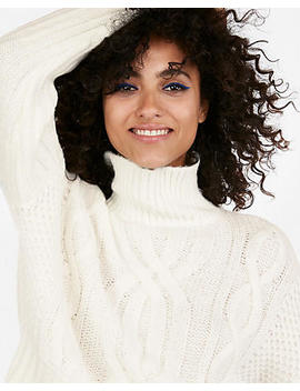 Cable Knit Abbreviated Turtleneck Sweater by Express