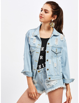 Ripped O Ring Detail Denim Jacket by Romwe
