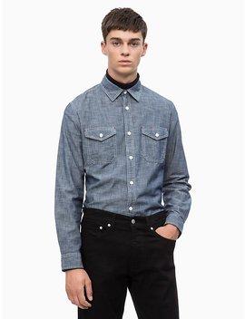 Slim Fit Chambray Utility Shirt by Calvin Klein