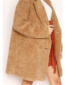 Sadie Brown Teddy Borg Coat by Missy Empire