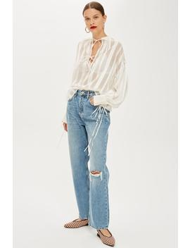 Mid Blue Ripped New Boyfriend Jeans by Topshop