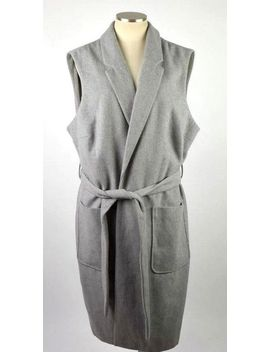 Soon Soft Heather Gray Felt Belted Long Trench Coat Duster Jacket Womens Size 22 by Soon
