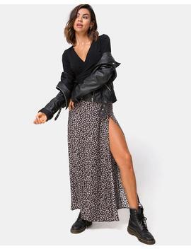 Shayk Maxi Skirt In Ditsy Rose Black By Motel by Motel