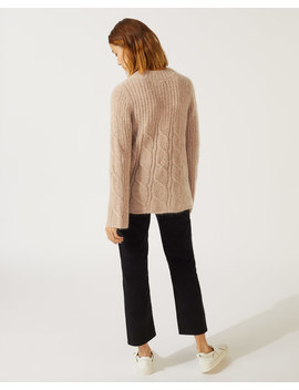 Mohair Cable Crew Neck Jumper by Jigsaw