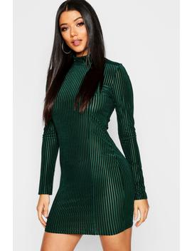 Ribbed Velvet Long Sleeve Bodycon Dress by Boohoo
