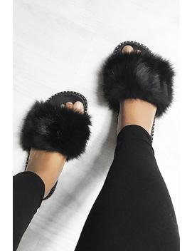 Black Faux Fur Sliders   Kyari by Rebellious Fashion