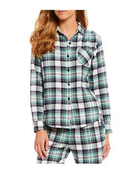 Portuguese Flannel Lily Plaid Printed Sleep Shirt by Sleep Sense