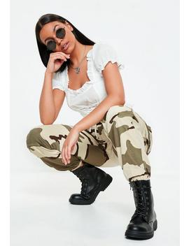 Premium Beige Camo Printed Cargo Trousers by Missguided
