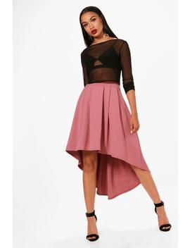 Eeva Dipped Hem Full Scuba Midi Skirt by Boohoo
