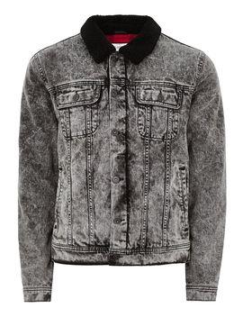 Acid Wash Borg Collar Denim Jacket by Topman
