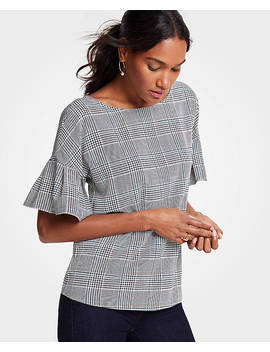 Petite Autumn Plaid Flutter Sleeve Top by Ann Taylor