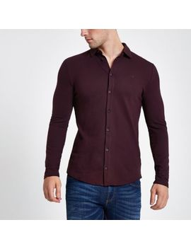 Dark Red Wasp Embroidered Muscle Fit Shirt by River Island