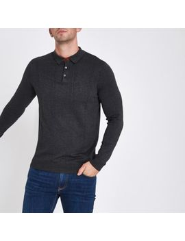 Dark Grey Cable Long Sleeve Polo Shirt by River Island