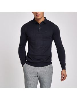 Navy Cable Slim Fit Long Sleeve Polo Shirt by River Island