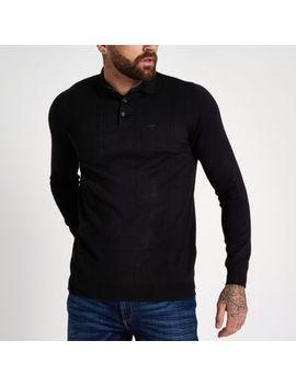 Black Slim Fit Long Sleeve Polo Shirt by River Island