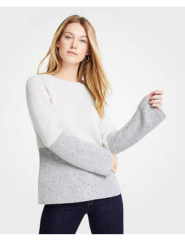 Petite Cashmere Colorblock Ribbed Crew Neck Sweater by Ann Taylor