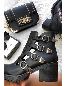Black Cut Out Buckle Detail Heeled Boots   Fredericka by Rebellious Fashion