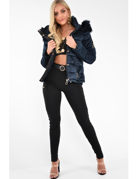 Navy Velour Fur Hood Puffer Jacket   Eastlynn by Rebellious Fashion