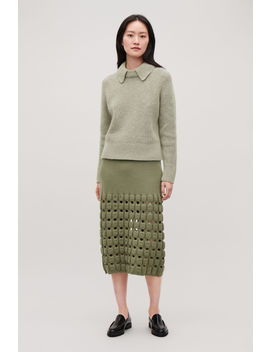 Cut Out Wool Knit Pencil Skirt by Cos