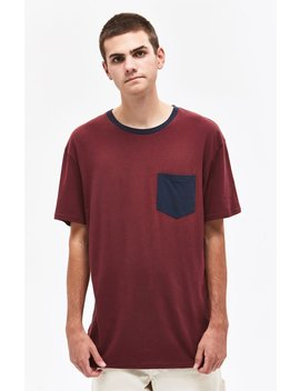 Pac Sun Contrast Pocket Burgundy T Shirt by Pacsun