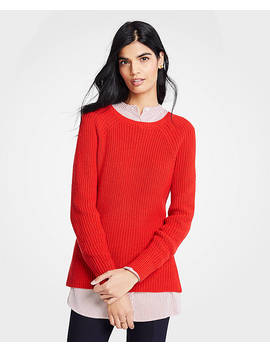 Petite Ribbed Crew Neck Sweater by Ann Taylor