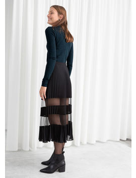 Pleated Mesh Stripe Midi Skirt by & Other Stories