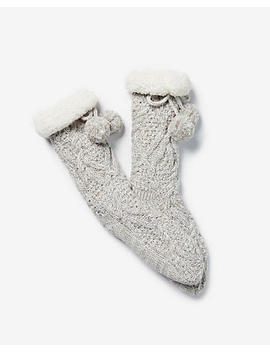 Cable Knit Pom Slipper Socks by Express