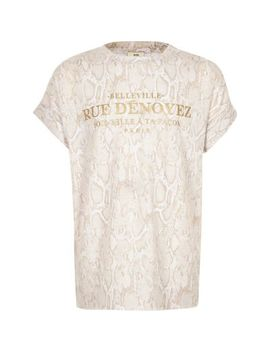 Girls Beige Snake Print T Shirt by River Island