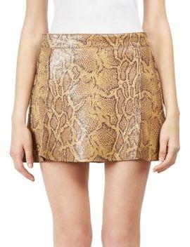 Python Print Leather Mini Skirt by Chloé
