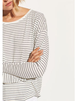 Pencil Stripe Relaxed Long Sleeve by Vince