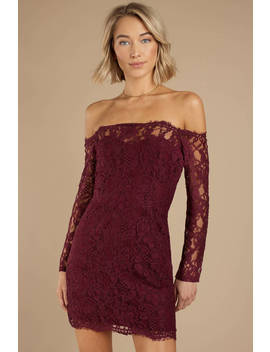 Adelyn Wine Lace Bodycon Dress by Tobi