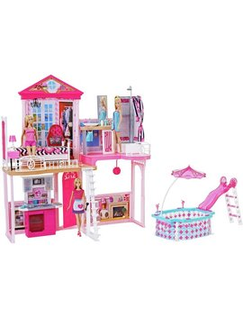 Complete Barbie Home Set With 3 Dolls And Pool by Argos