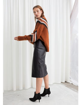 Belted Leather Midi Skirt by & Other Stories