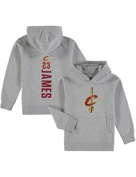 Le Bron James Cleveland Cavaliers Fanatics Branded Youth Backer Name & Number Pullover Hoodie   Gray by Fanatics