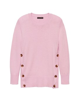 Cotton Wool Blend Button Side Crew Neck Sweater by Banana Repbulic