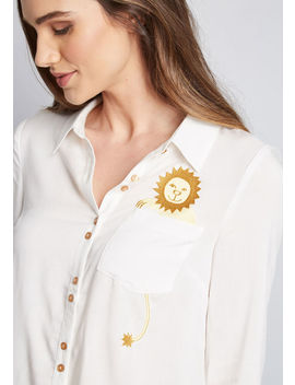 Adorably Embroidered Button Up Top by Modcloth