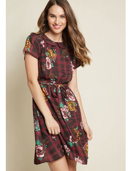 Joyfully Poised Collared Dress In Print Mix by Modcloth