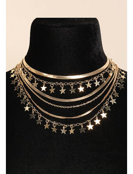 Gold Star &Amp; Flat Chain Layered Necklace by Love Culture