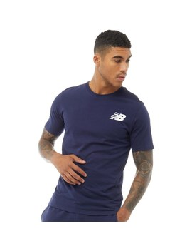 New Balance Mens Chest Logo Graphic T Shirt Navy by Mand M Direct