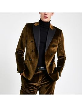 Gold Velvet Double Breasted Suit Jacket by River Island